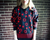 Repurposed / Recycled Vintage Red Black Circle Dot Stud Shoulder Oversized Sweater