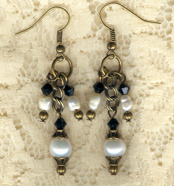 Vintage Antique Brass White Pearl and Black Swarovski Crystals Earrings.