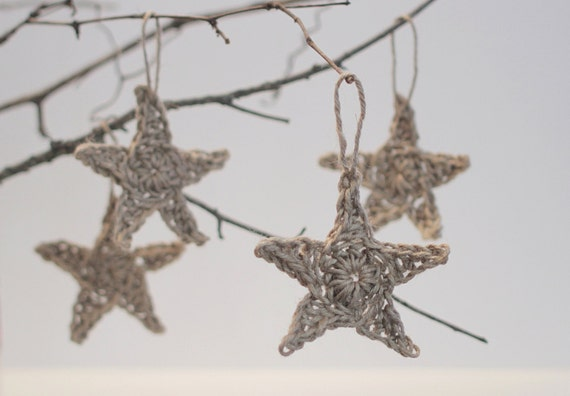Reserved Listing for Kayla - Crochet Twine Star Christmas Ornaments - set of 30