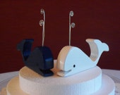 Navy and White whale cake toppers