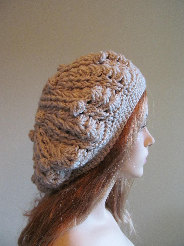 Grey Slouchy Beret Beanie Womens Crochet Slouchy Hats