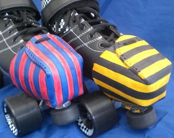 Leather Toe Snouts / Caps Striped Choice of Colours Roller Derby