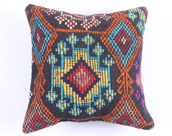 WOOL Pillow Cover - pink and brown - 16'' x 16'' - tribal inspired - decorative pillows -best gift pillows-