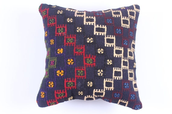 Buglem / Handwoven Vintage Turkish Kilim Pillow Cover, Decorative Pillow, Accent Pillow, Throw Pillow, 16x16 inch