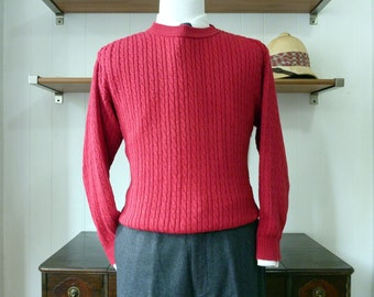 RARE Vintage Brooks Brothers 100% Cotton Red Cable Knit Sweater Size Small 40 R.  Made in USA.