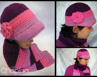 Newsboy Striped/Ombre Hat and Scarf Set (Made to Order)