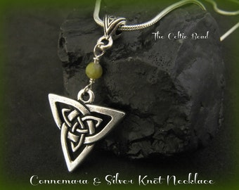 Connemara Marble & Silver Celtic Trinity Knot Irish Necklace