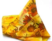 Sunflowers hand painted silk scarf. Honey and mustard yellow scarf. Autumn colors silk scarf. Made to order.
