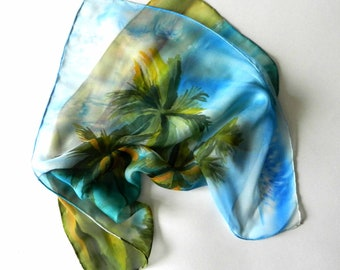 Australian silk scarf. Hand painted silk scarf with palm trees. Ready to ship.