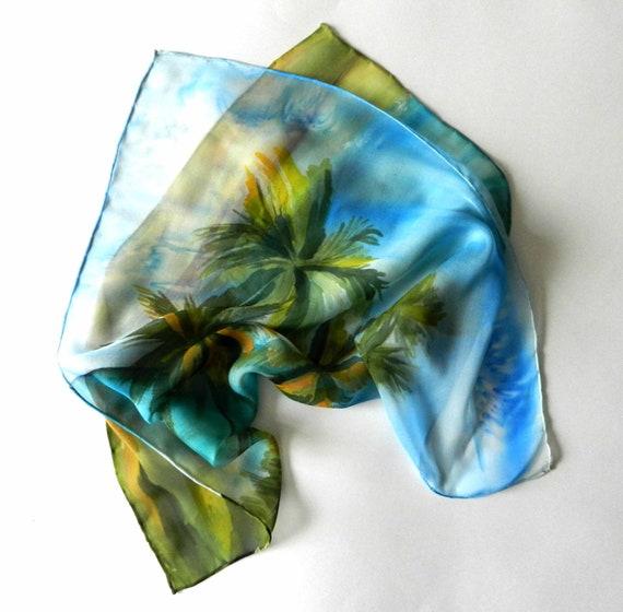 australian silk scarf painted silk scarf with palm