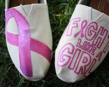 Breast Cancer Awareness Hand Painted TOMS Shoes