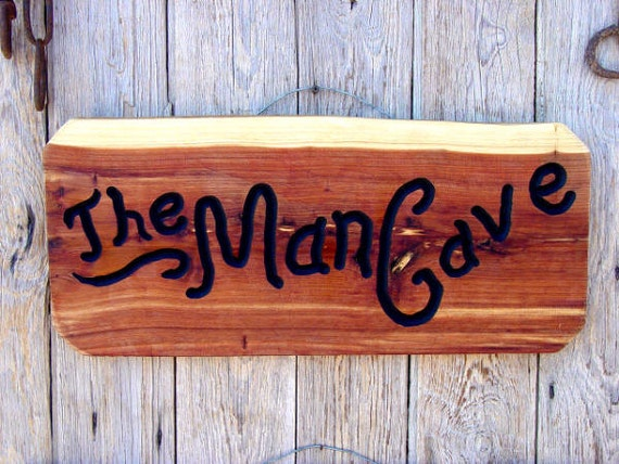 Rustic Man Cave Sign : Items similar to rustic log cedar sign the man cave on etsy