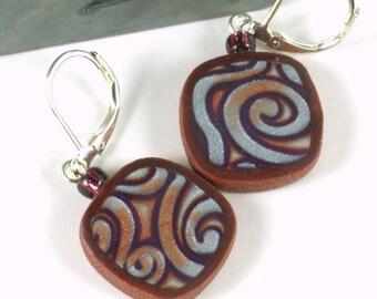 Mod earrings polymer clay purple copper pearl swirl