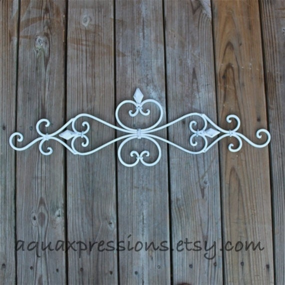 White Metal Wall Fixture /Distressed Patio Decor By