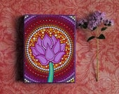 Sweet Lotus Flower- Wood Block Print