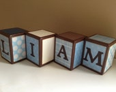 Reserved for Lindsay Custom Wood Letter Blocks, Blocks, Personalized Baby Gift, Baby Nursery Decor, Boy Birthday Present