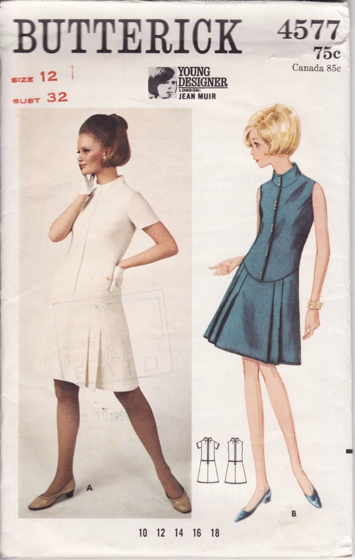 1960s Jean Muir dress pattern - Butterick 4577