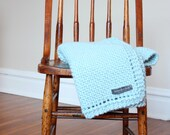 Blue Solid Knit Baby and Toddler Blanket