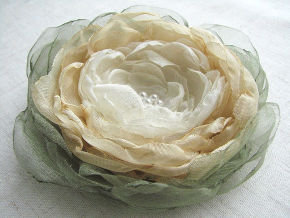 Flower hair clip brooch green, beige, ivory  Wedding hair piece Hair flower Wedding accessory Sash flower