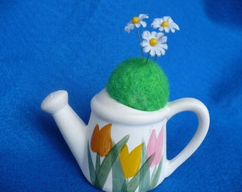 Watering can, Needle Felted, Pincushion