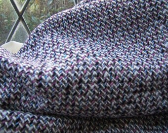 Very pretty woven colorful wool blend fabric, grey, pink, white, black and blue