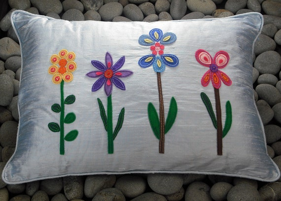 Blue Silk Pillow Cushion Applique Abstract Felt Flowers Silk Dupioni Embroidered Decorative Cushion