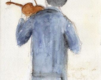 Sherlock and the Violin  BBC Benedict Cumberbatch British Television watercolor Fine art print