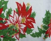 Christmas Tablecloth, vintage, retro, rectangular, rayon, rayon blend holiday