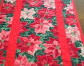 Christmas table runner or wall hanging. Poinsettias in reds and pinks