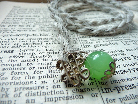 Traditional Mongolian Cufflink Bookmark with Real Horsehair and Green Glass Bead