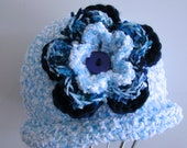 Blue Boucle Cloche/Sun Hat/12 - 24 months Special order for David