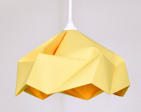 Snowflake: Origami Paper Lamp Shade / Lantern - Canary Yellow
