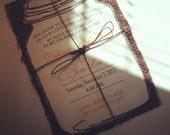 Mason Jar with Burlap Wedding Invitation-100