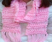 Pink Scarf, Knitted Long Pink Scarf, Long Scarf, Knitt, Pink yarn, Warm Scarf