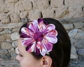Gorgeous Japanese Flower, Kanzashi Hair Accessory, Handmade Purple and Pink Flower, Purple Pink White