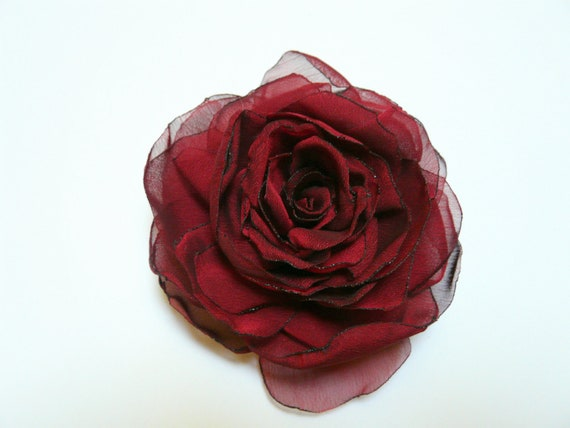 Beautiful Red Hair Flower, Crimson Hair Clip, Red Rose Brooch