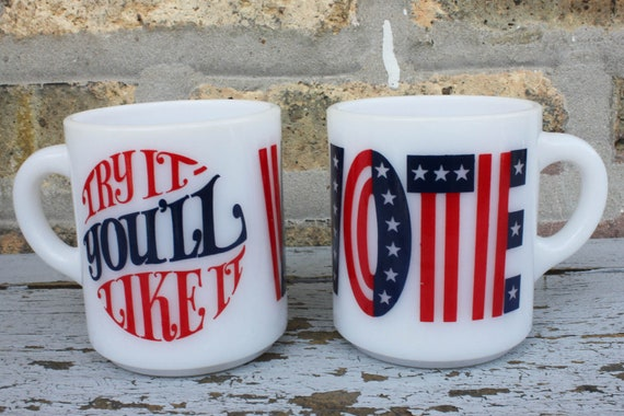 """SALE // Vintage 1960's VOTE """"Try it you'll like it"""" milk glass promotional election mugs"""
