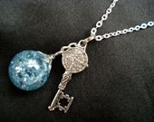 Medieval Key Ice Blue Crackle Glass Dangle Marble Necklace