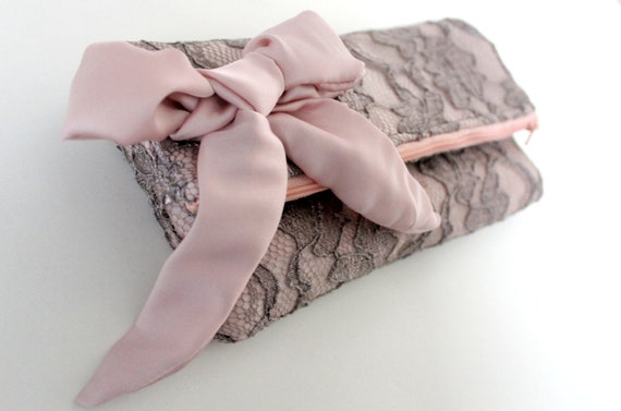 Lace clutch, fold over clutch, pink silk satin and lace