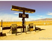 GAS - retro gas station amidst colorful Colorado sand dunes, mountains, and fields - 8x10 color matte print