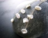 Pearl Petal Earrings - Delicate 14k Gold Filled Chain Earrings, June Birthstone