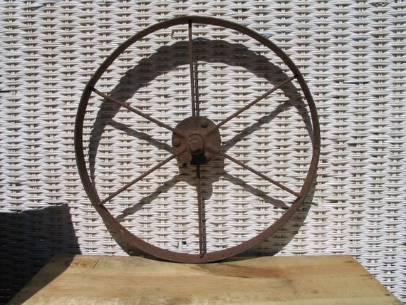 Antique Metal Wheel Industrial Decor Wall Decor Industrial