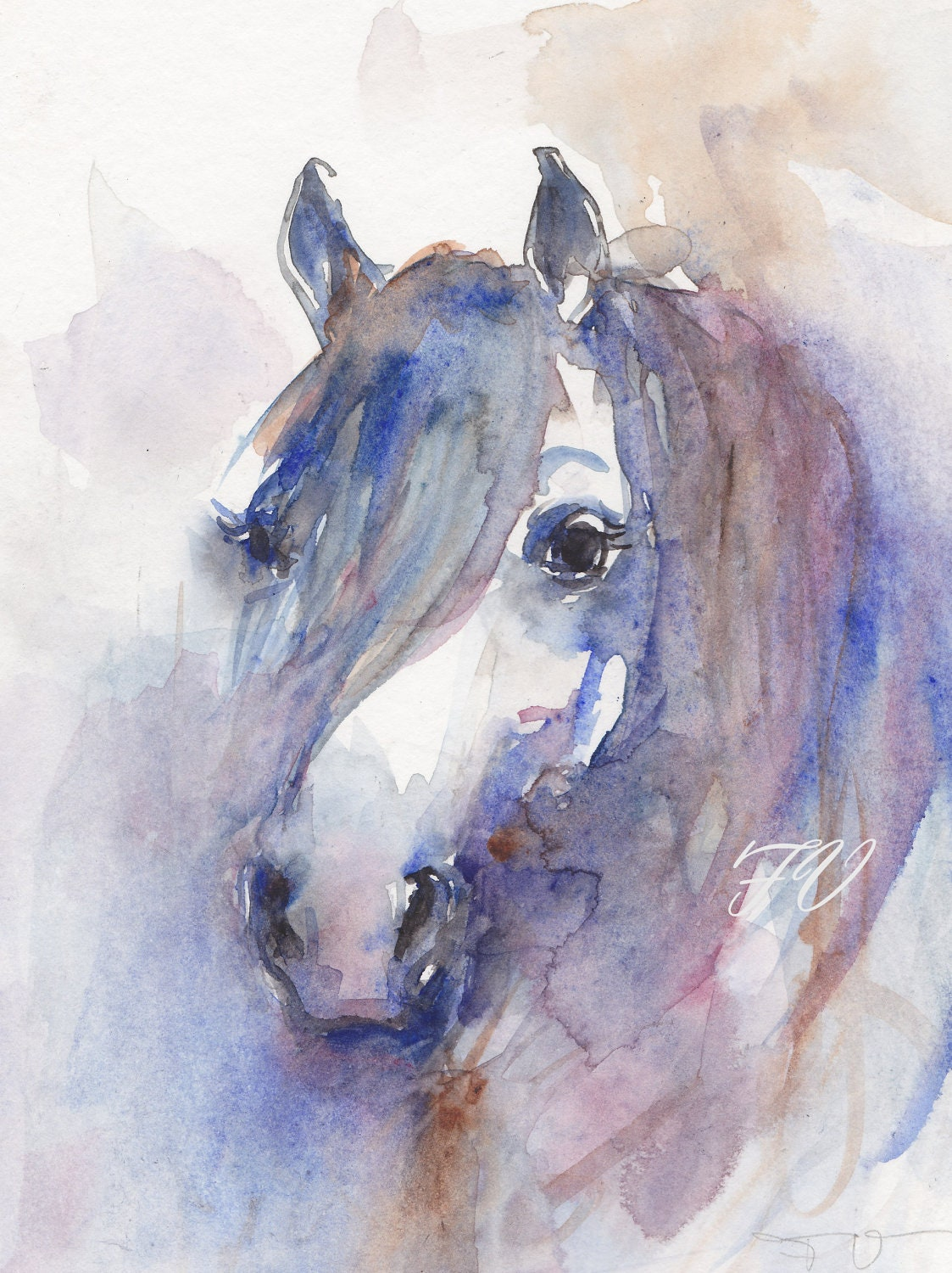 Wild horse original watercolor painting animal art for How to paint a portrait in watercolor