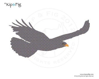 Hawk applique template - PDF applique pattern