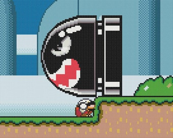 Super Mario World Banzai Bill Cross Stitch Pattern