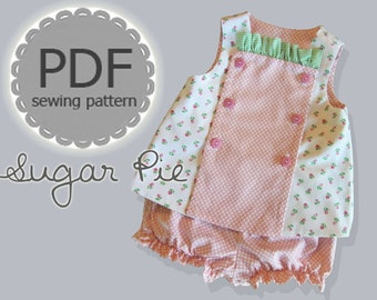 Sugar Pie Reversible Bib, Top and Bloomer Dress PDF Pattern for Baby Toddler. Sizes 1/2, 1, 2, 3, included
