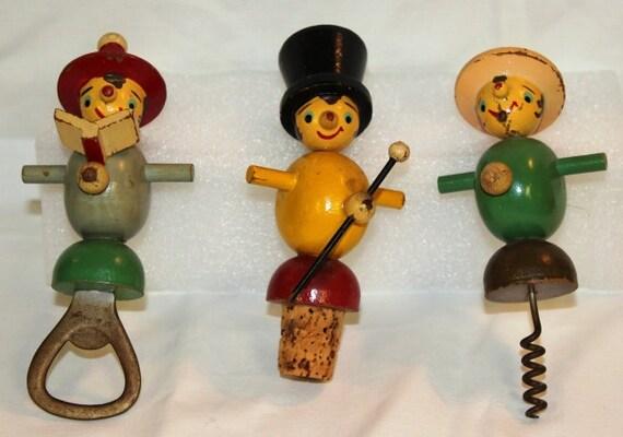 3 Vintage Wooden Men Bar Set