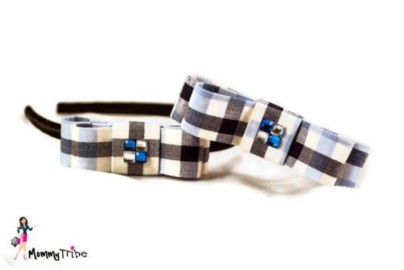Matching Brother and Sister Look: Black and White Bow Tie and Hairband with Square Crystals - Boy & Girl Set