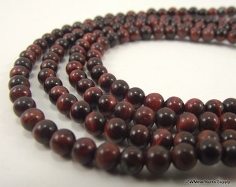 Red Tigereye Round Beads, 4mm, 16 Inch Strand, Whole Strand