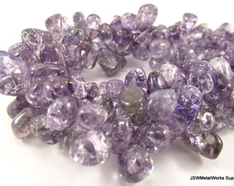 Ice Flake Quartz Beads, Purple, Large Top-Drilled Chip, 10 - 12mm, 15 inch strand, Whole Strand